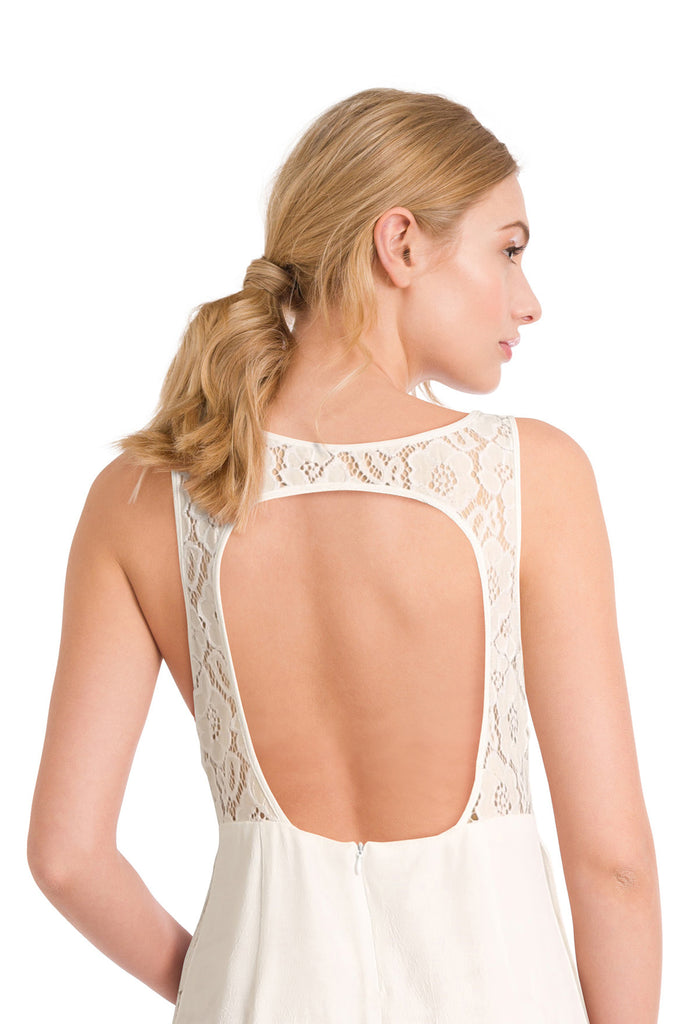 Lace backless ivory jumpsuit