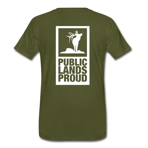 Public Lands Proud - Elk Men's Premium T-Shirt - olive green