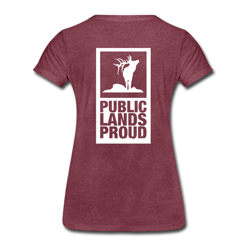 Public Lands Proud - Elk Women's Premium T-Shirt - heather burgundy