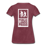 Public Lands Proud - Hiking Women's Premium T-Shirt - heather burgundy