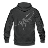 TroutBus - Salmonfly and Public Lands Proud Unisex Fleece Zip Hoodie - charcoal gray