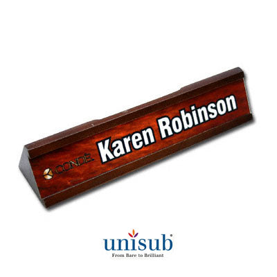 Desk Signs- Wood Desk Set w/ Business Card Slot