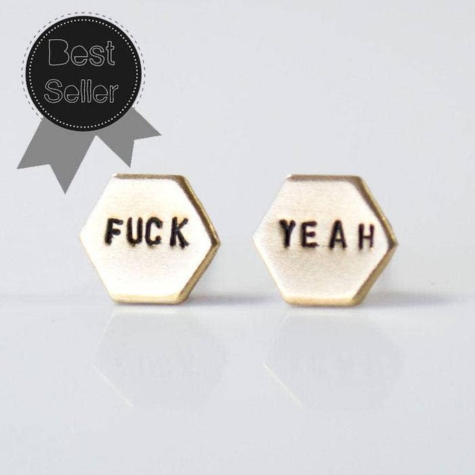 Fuck Yeah Hexagon Earrings