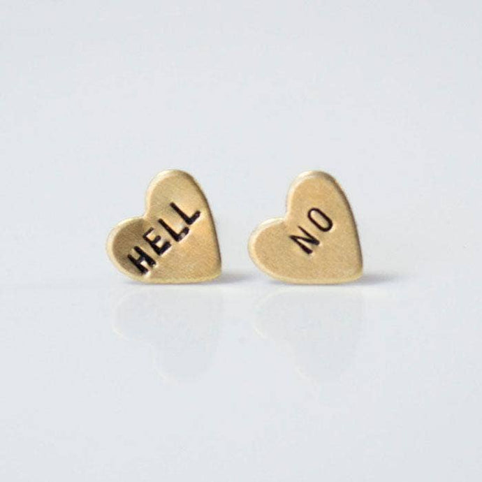 Hell No Heart Earrings