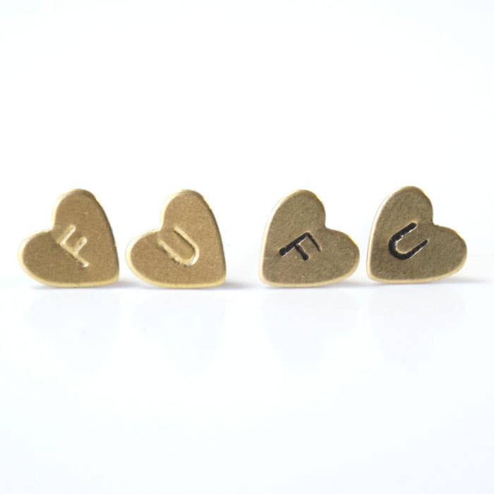 F U, Heart Earrings | Brass