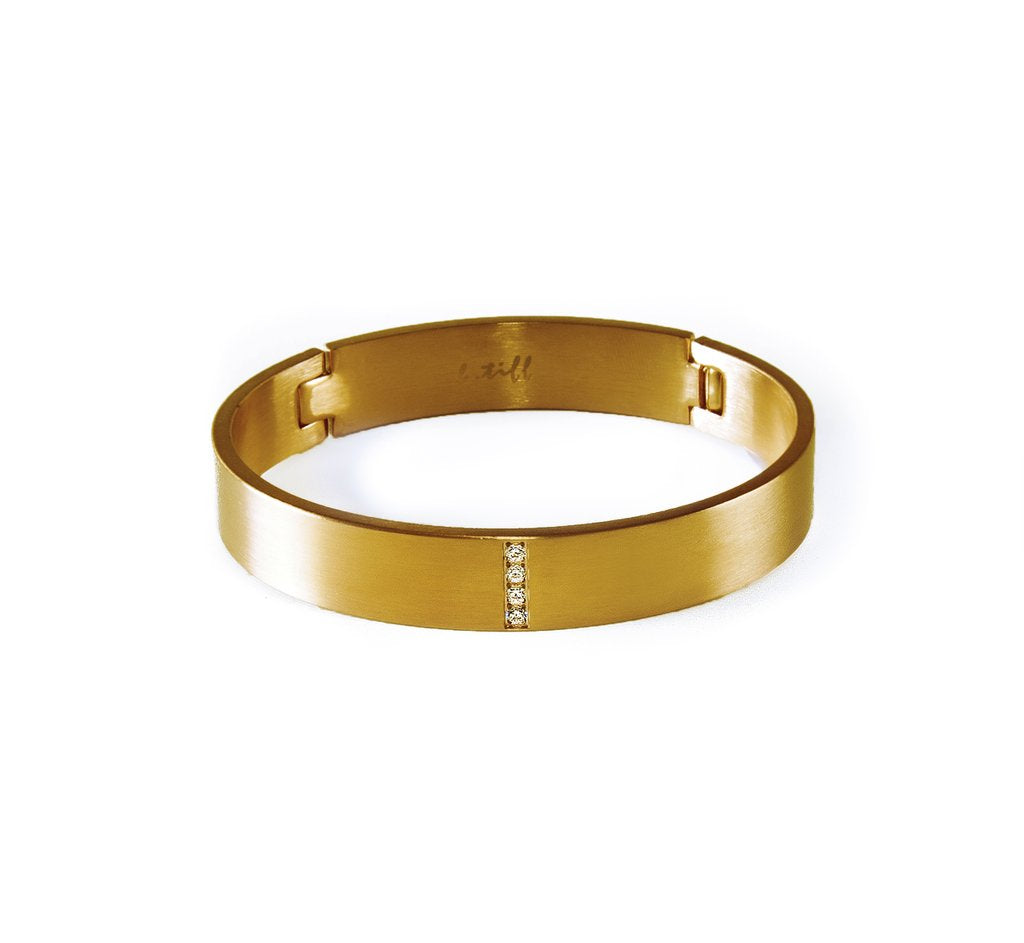4 Stone Wide Gold Plated Stainless Steel Pavé Bangle