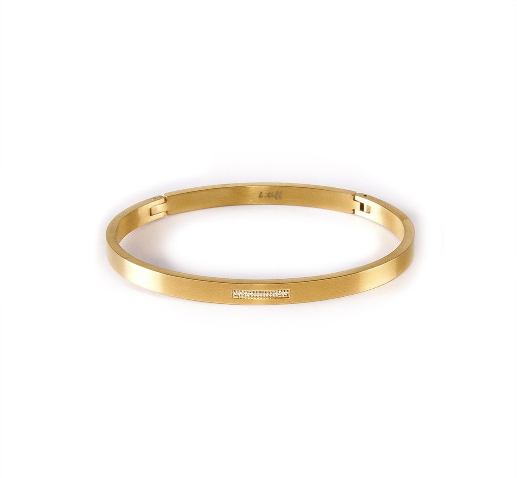 9 Stone Pave Gold Plated Stainless Steel Bangle
