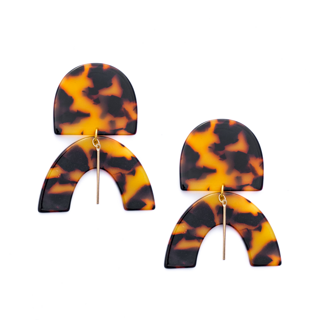 Drew Acrylic Statement Earrings - Tortoise