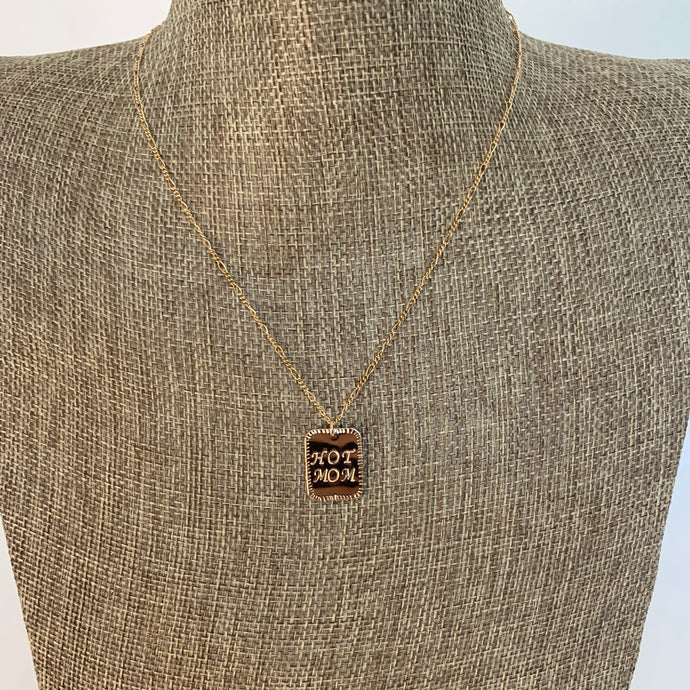 Hot Mom Gold Filled Rectangle Necklace