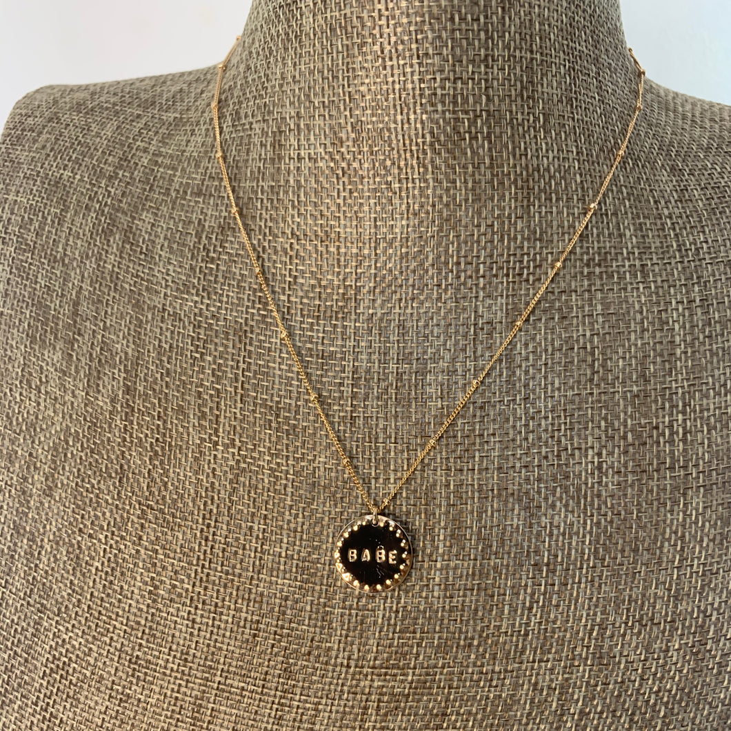 Babe Gold Filled Coin Necklace