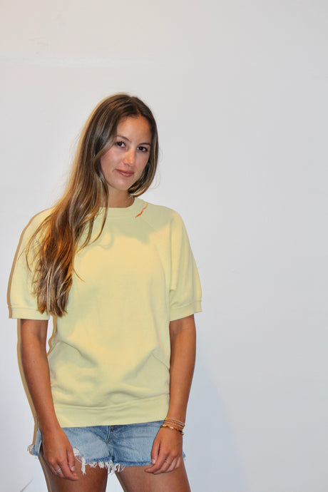 Vintage Yellow Short Sleeve Vintage Sweatshirt