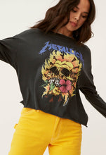 Metallica Flaming Skull Oversized Long Sleeve Crop