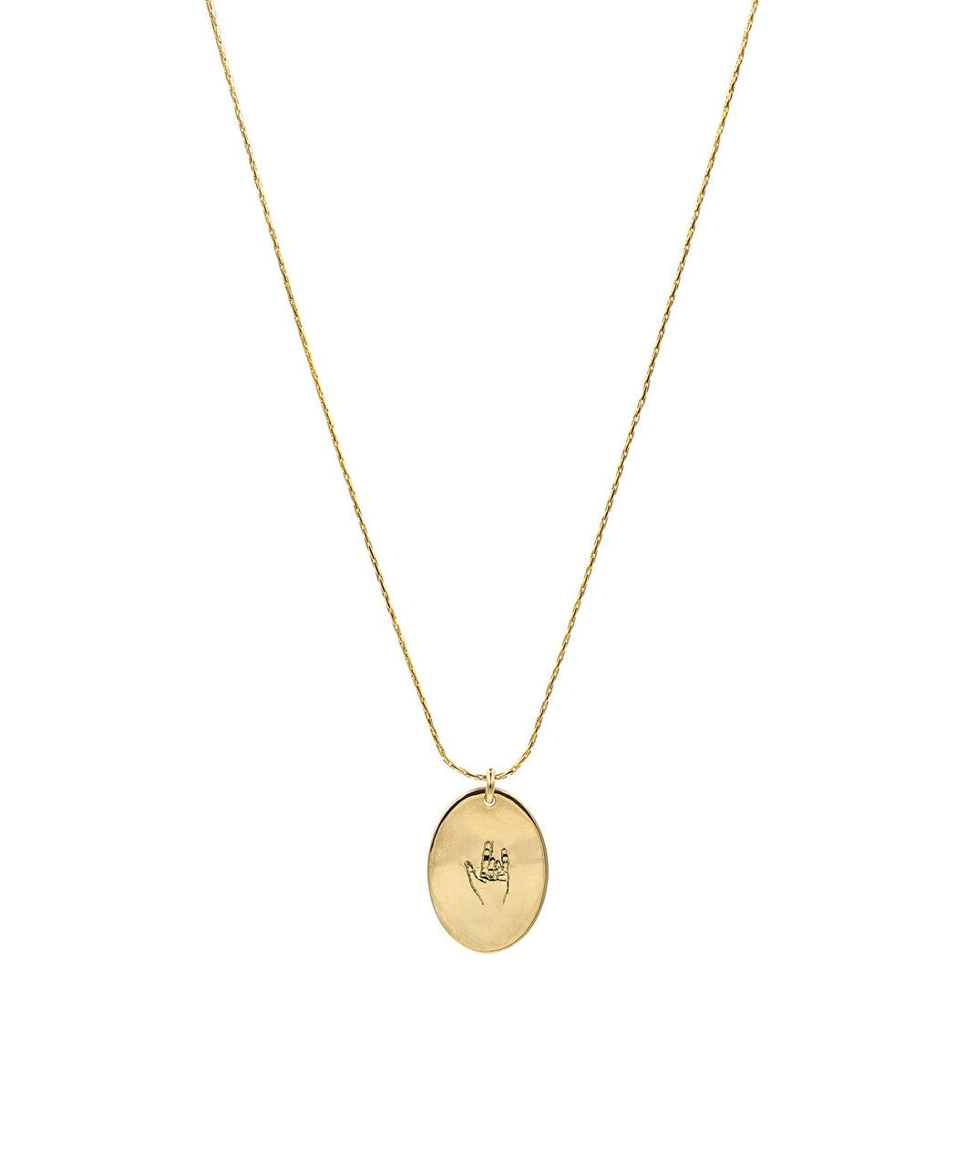 Oval I Love You Sign Necklace