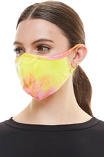 Stretchable Tie Dye Face Mask - Pink/Yellow
