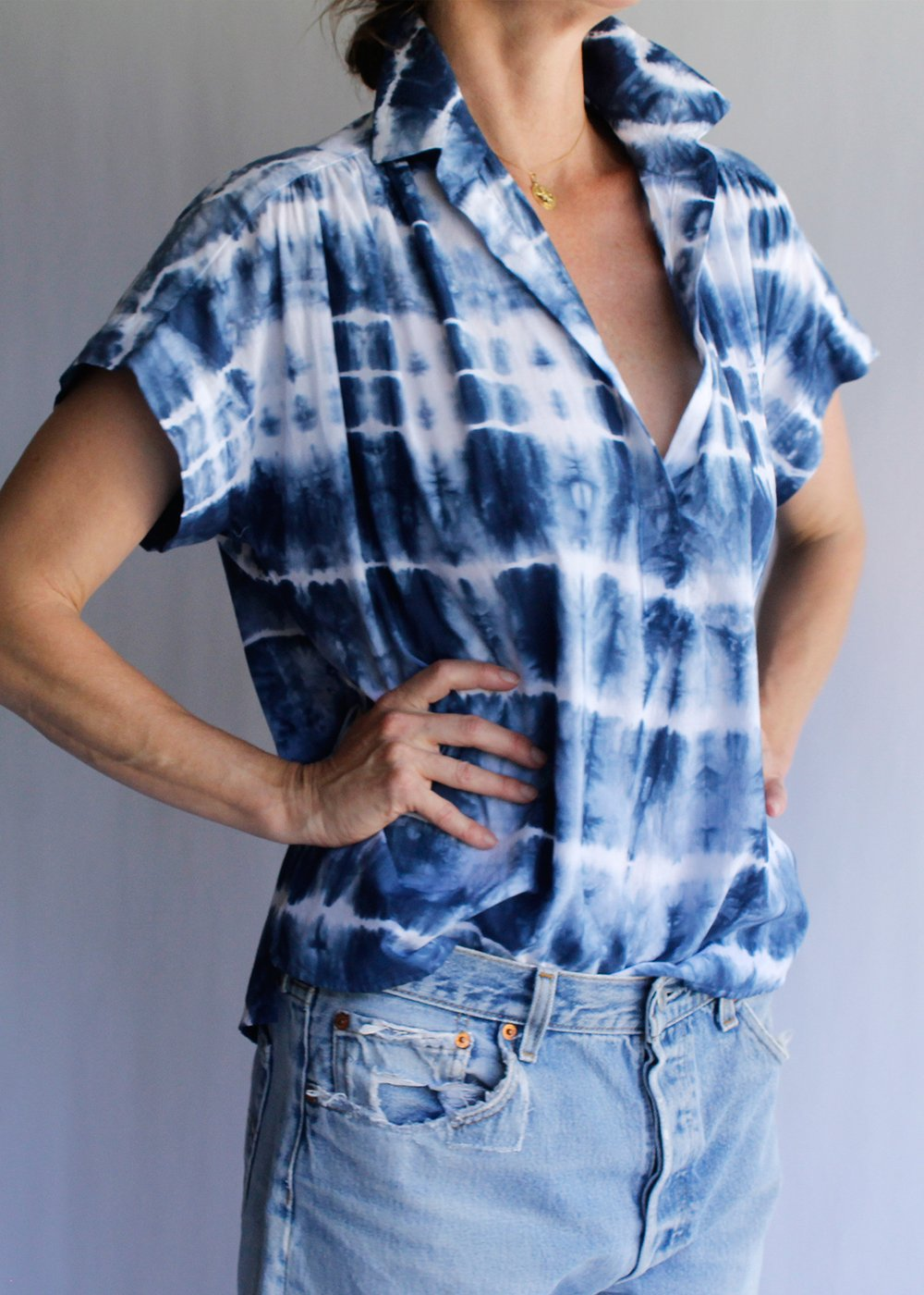 Shibori Denim Motley Top