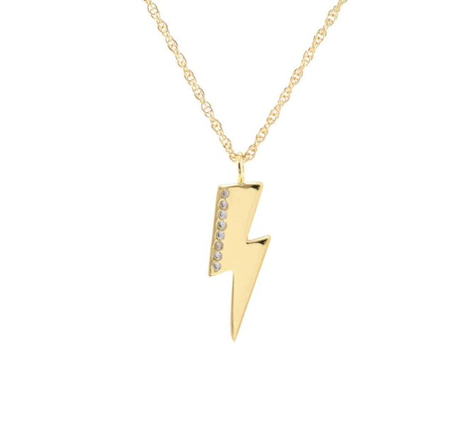 Medium Lightning Bolt Charm Pave Necklace