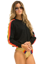 Bolt Embroidery Classic 4 Stripe Cropped Crew Sweatshirt
