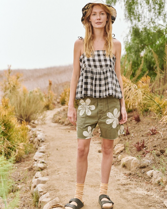 The Vintage Army Short w/ Daisy Stamp