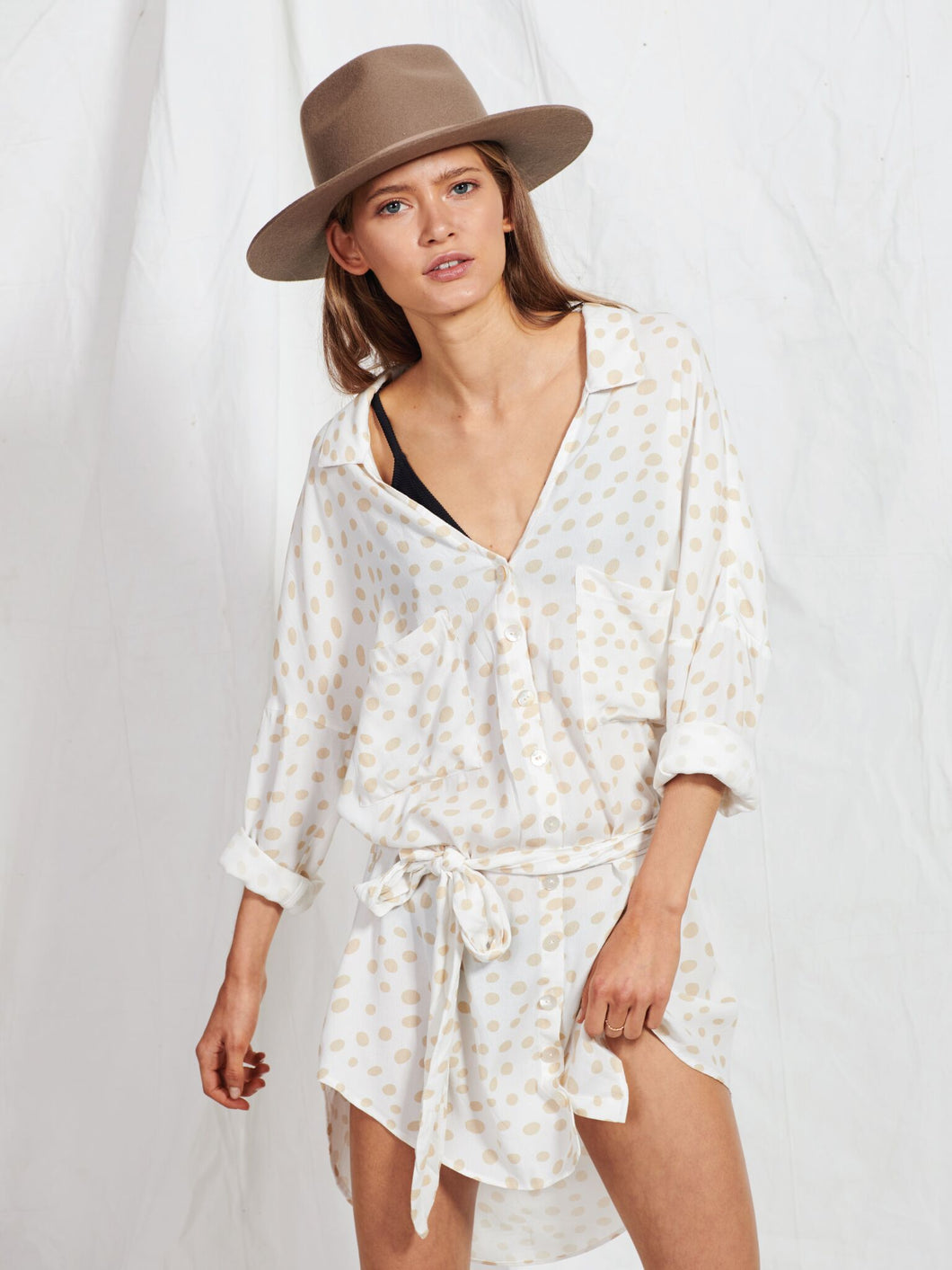 Latte Polka Dot Shirt Dress