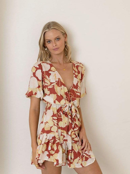Zanthe Floral Tie Mini Dress