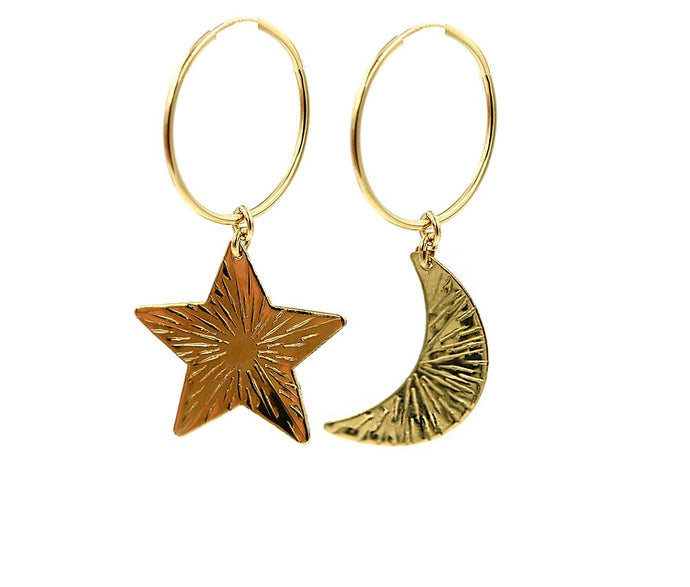 Night Sky Gold Filled Hoops