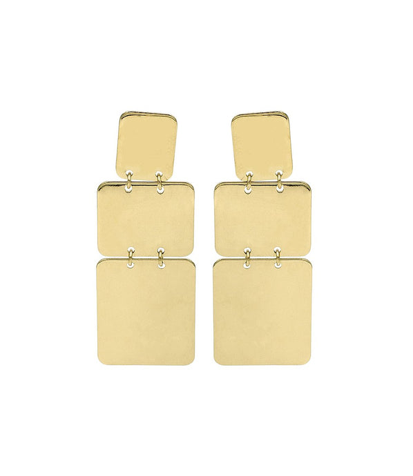 Triple Rectangle Gold Plated Earrings