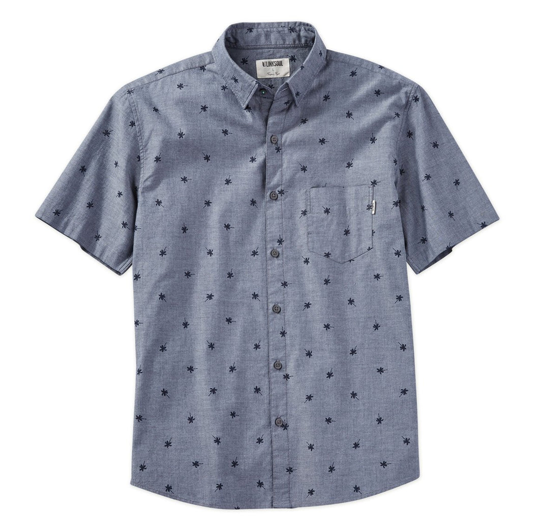 Palm Print Short Sleeve Woven Shirt