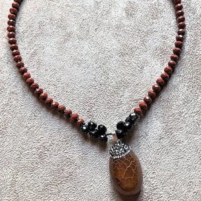 Carnelian and Onyx Bead Necklace