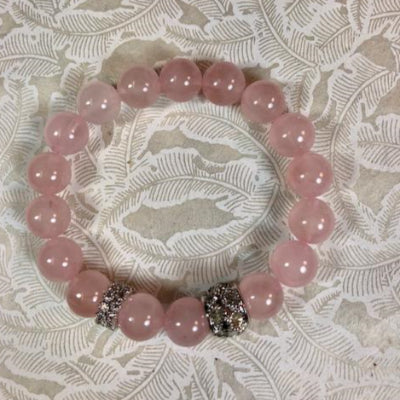 Rose Quartz abd Rhodium Pave Stretch Bracelet