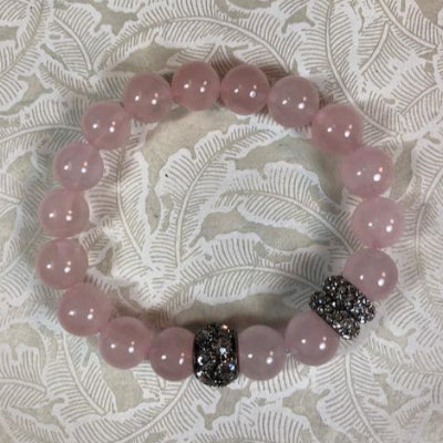Rose Quartz Stretch Bracelet with Gunmetal Pave Beads