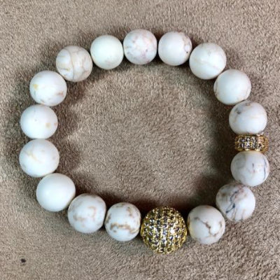 White Turquoise Beaded Bracelet with Gold Pave Beads