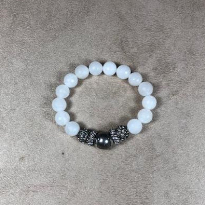 White Jade and Gunmetal Rhodium Pave bead Stretch Bracelet