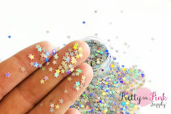 Silver Holographic Star Loose Glitter