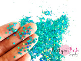 Teal Holographic Star Loose Glitter
