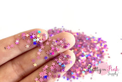 Pink Lilac Holographic Star Loose Glitter