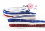 "5/8"" Red/White/Blue Stripe Glitter Elastic - Pretty in Pink Supply"
