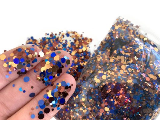 Royal Blue/Brown Mix Confetti Loose Glitter