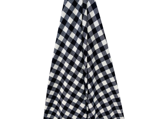 Black/White Plaid Jersey Stretch Fabric