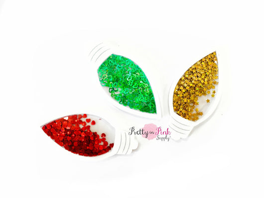 Christmas Lights Confetti  Filled Flat Back Resin