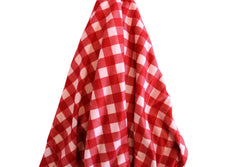 JERSEY Baby Pink/Red Checker Stretch Fabric