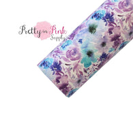 Watercolor Purple/Blue Wild Flower Faux Leather Fabric Sheet