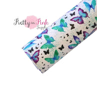 Watercolor Butterflies Faux Leather Fabric Sheet