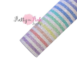 Pastel Rainbow White Stripe Chunky Glitter Sheet