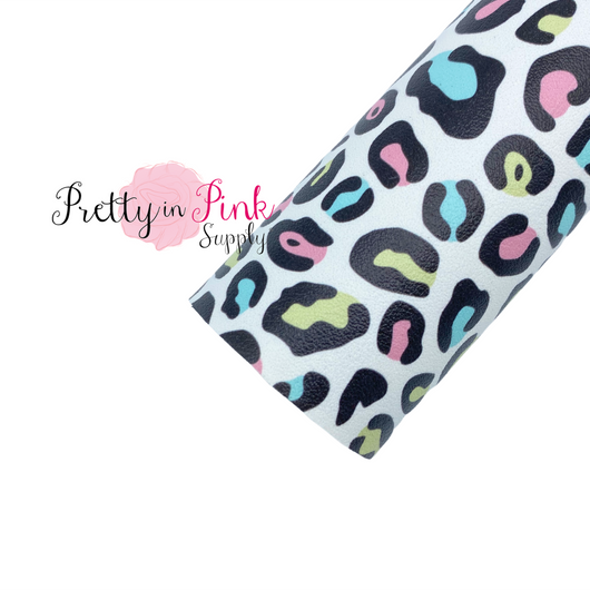 Pastel Rainbow Leopard Faux Leather Fabric Sheet