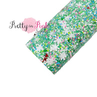 Mint Mixed Snowflake Chunky Glitter Sheet