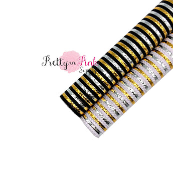 New Year's Patterned Stripe Faux Leather Fabric Sheet
