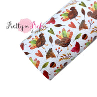 Colorful Fall Turkey Faux Leather Fabric Sheet