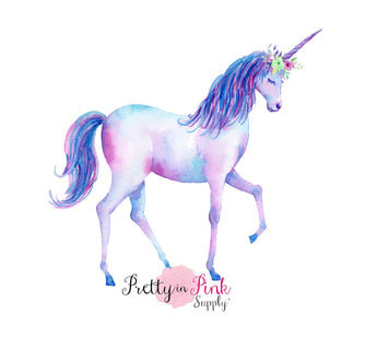 Blue Rainbow Walking Unicorn Iron On - Pretty in Pink Supply