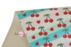 Cherry Love Soft Faux Leather Fabric Sheet