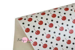 Cherry Polka Dots Soft Faux Leather Fabric Sheet